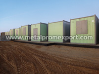 All-welded container units at the location of use prepared for installation of modular building