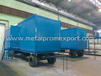 Truck-mounted trailer house in the workshop