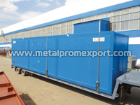 Transportation of tech-module based on sandwich panel container unit by automobile vehicle