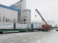 Loading container unit dispatch station with dimensions of 9х3х3 m to flatcar