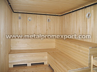 Steam bath room in all-welded container unit bath complex