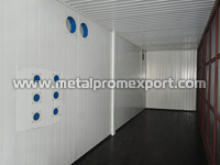 Internal room of one of modules in technical building based on sandwich panel container units